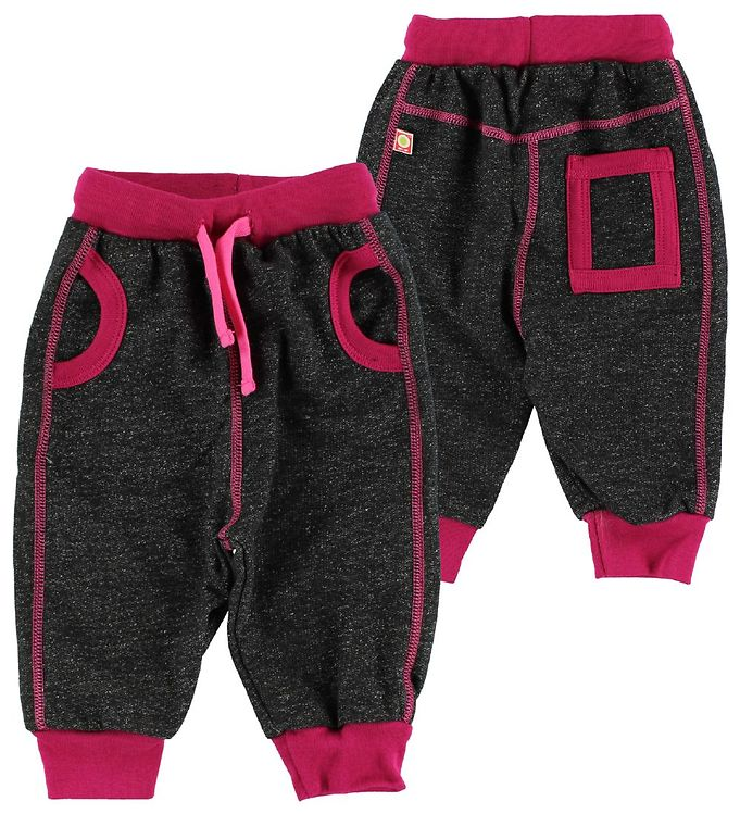 Image of Katvig Sweatpants - Sortmeleret m. Mørk Pink (IN376)