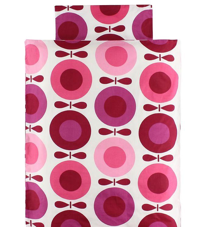 Billede af Katvig Sengetøj - Voksen 140x220 - Hvid m. Pink Æbler