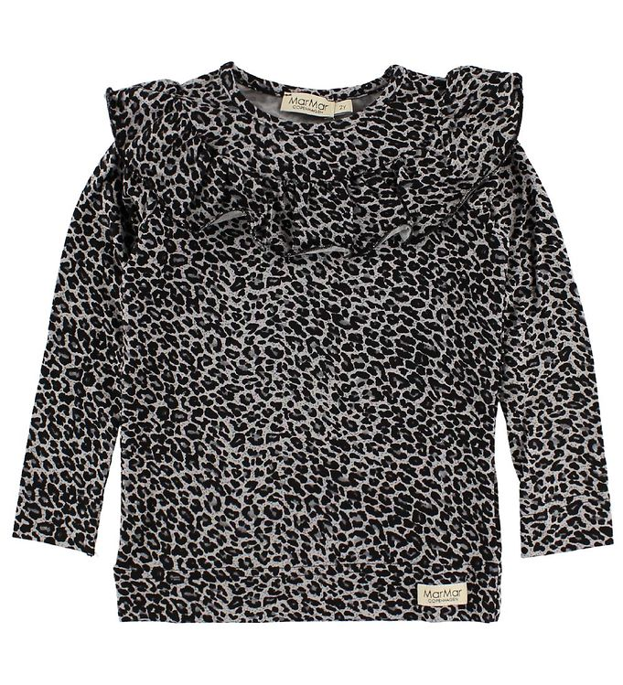 Billede af MarMar Bluse - Grå Leopard m. Flæser