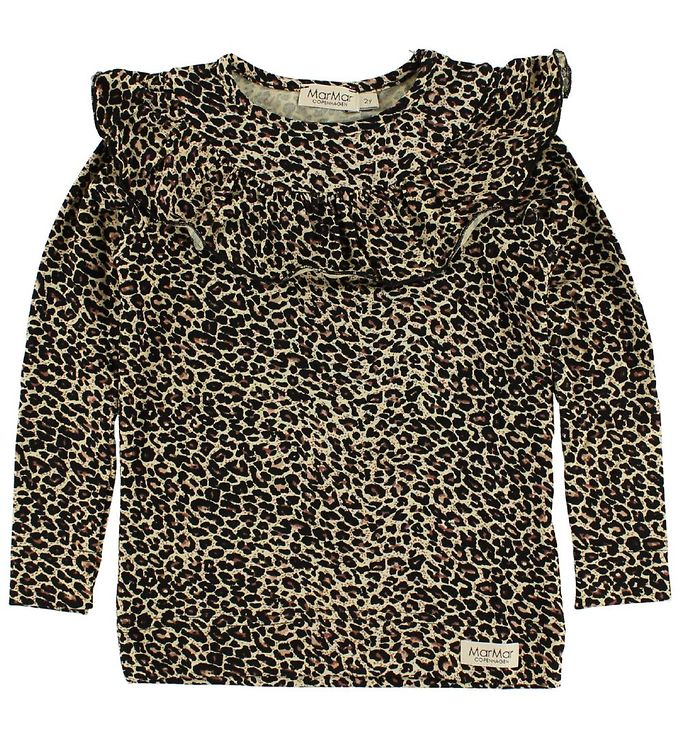 Billede af MarMar Bluse - Brun Leopard m. Flæser