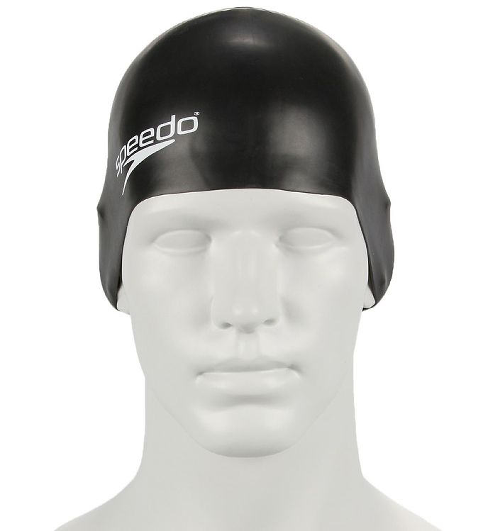 Image of Speedo Badehætte - Junior Plain Moulded Silicone Cap - Sort (IS141)