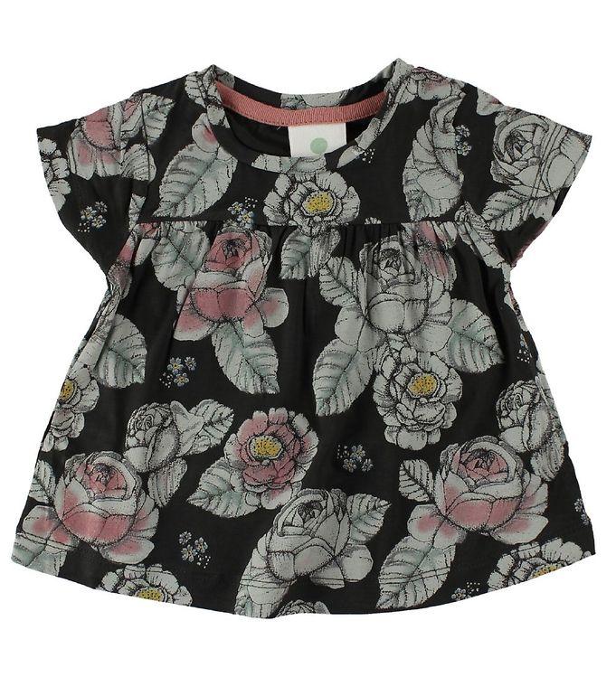 Image of En Fant T-Shirt - Sort m. Blomster (IU483)