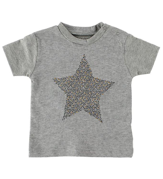 Image of Fixoni T-Shirt - Gråmeleret m. Stjerne (IU769)