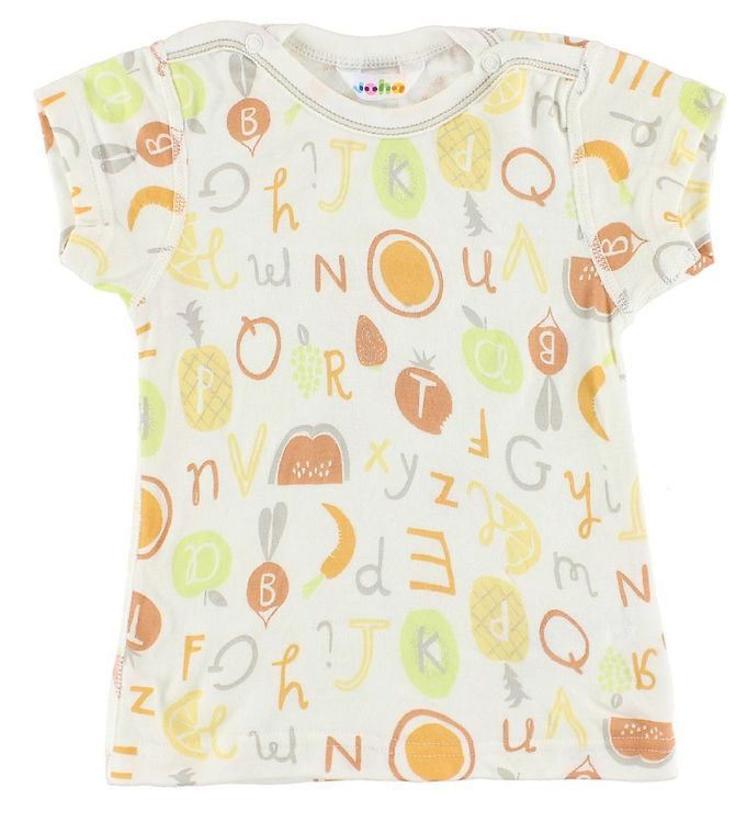 Image of Joha T-Shirt - Bambus - Hvid m. Frugter/Bogstaver (IX413)