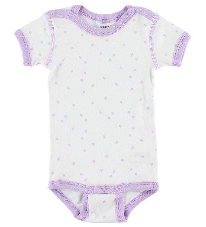 Image of Joha Body K/Æ - Bomuld - Hvid/Lavendel m. Stjerner (IX578)