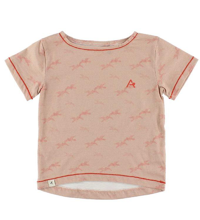 Image of AlbaKid Oversize T-Shirt - Adele - Støvet Rosa m. Fugle (IZ041)