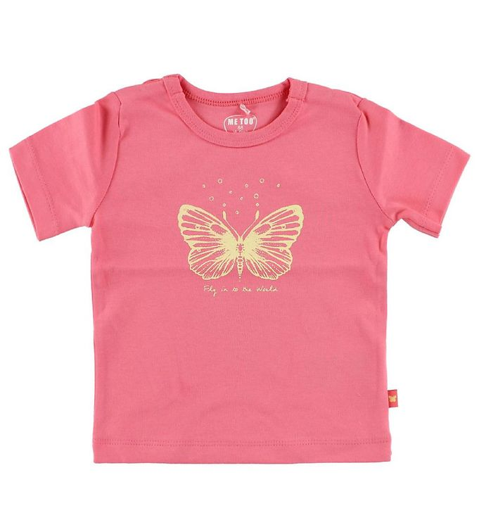 Image of Me Too T-shirt - Pink m. Sommerfugl (JA284)