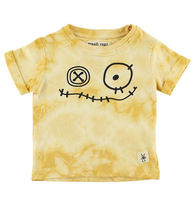 Image of Small Rags T-Shirt - Gul Tie Dye m. Ansigt (JA506)