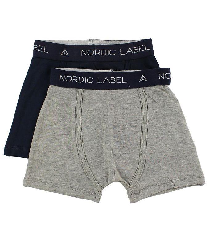 Nordic Label Boxershorts - 2-pak - Gråmeleret/Navy