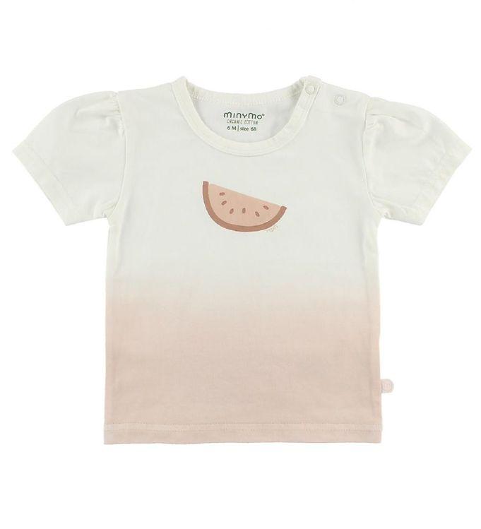 Image of Minymo T-shirt - Creme/Rosa m. Melon (JA971)