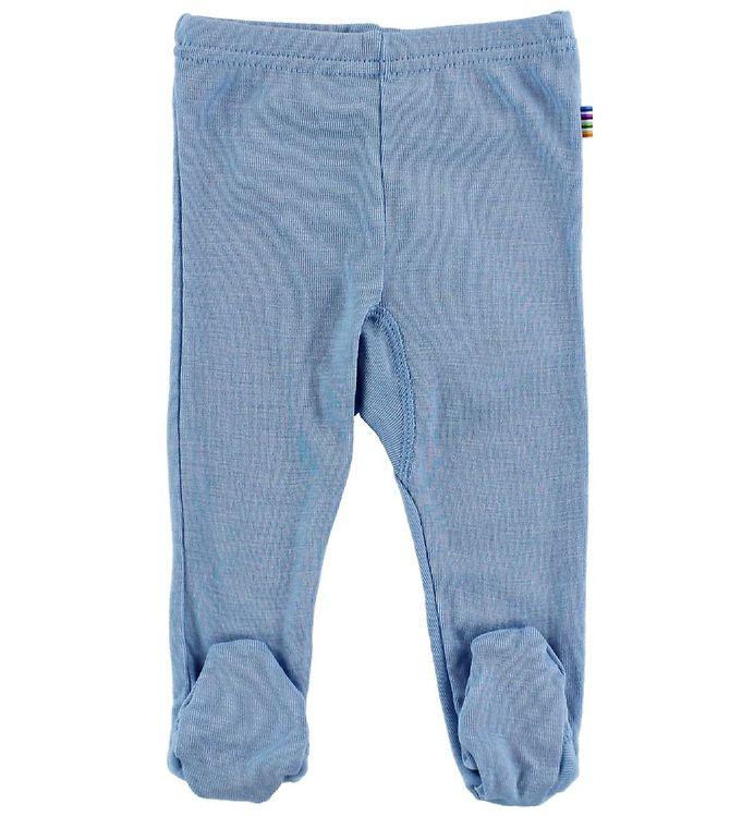 joha leggings m. fod - uld/silke - blå fra joha