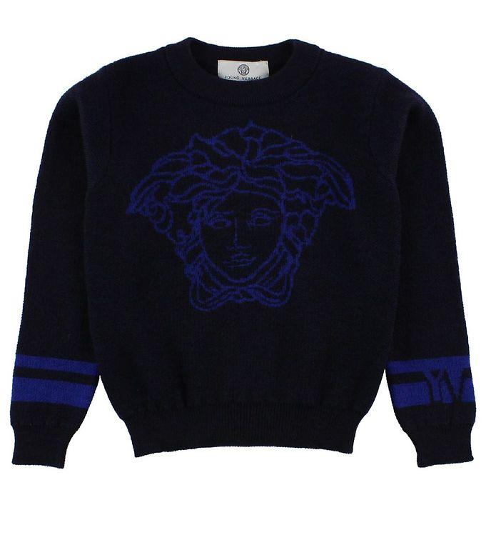 Billede af Young Versace Bluse - Uld - Navy m. Logo