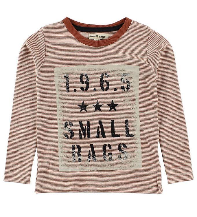 Image of   Small Rags Bluse - Rødbrun/Hvidstribet m. Tekst