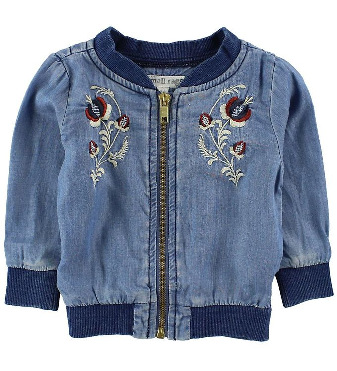 Image of Small Rags Cardigan - Lys Denim m. Blomster (JG729)