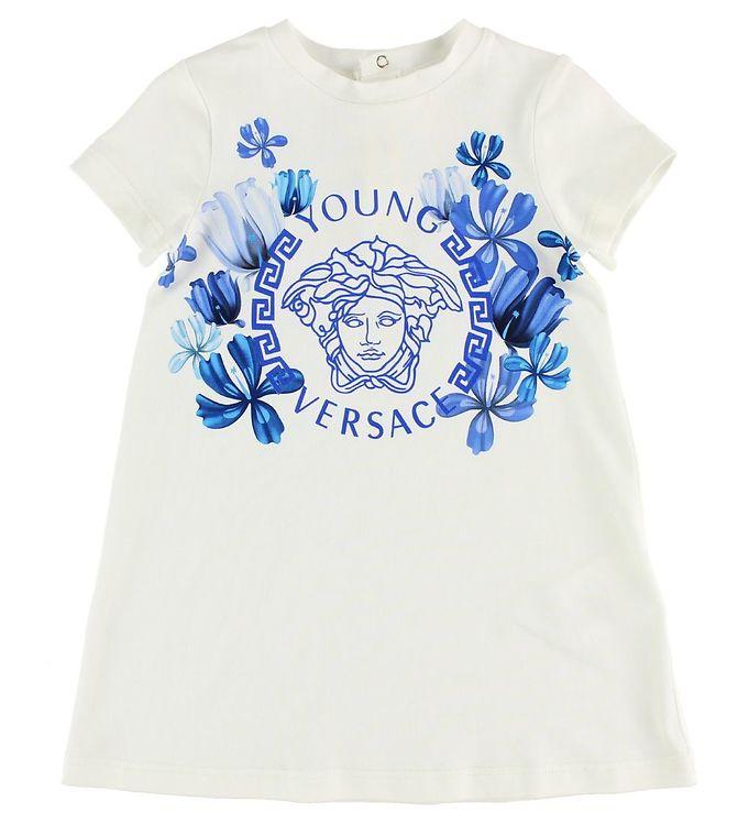 Image of Young Versace Kjole - Hvid m. Medusa/Blomster (JK247)