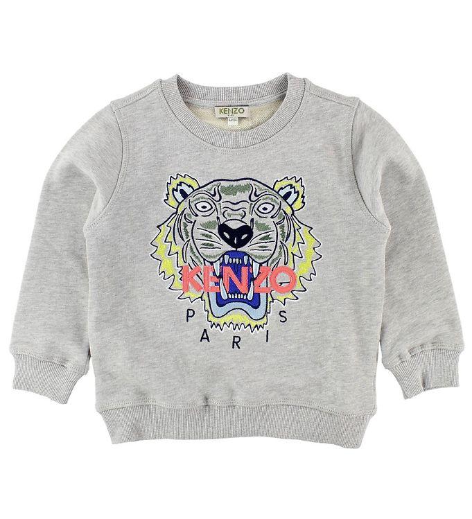 kenzo – Kenzo sweatshirt - gråmeleret m. tiger på kids-world