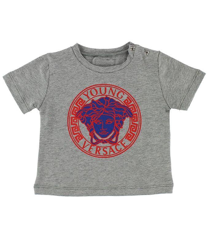 Image of Young Versace T-shirt - Gråmeleret m. Rød/Blå (JL712)