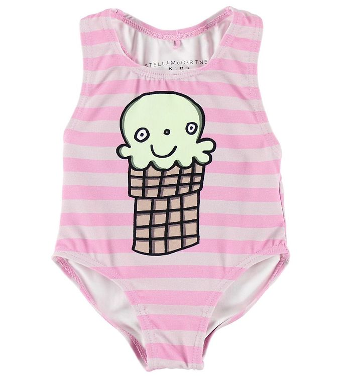 Image of Stella McCartney Kids Badedragt - UV50 - Rosastribet m. Isvaffel (JO284)