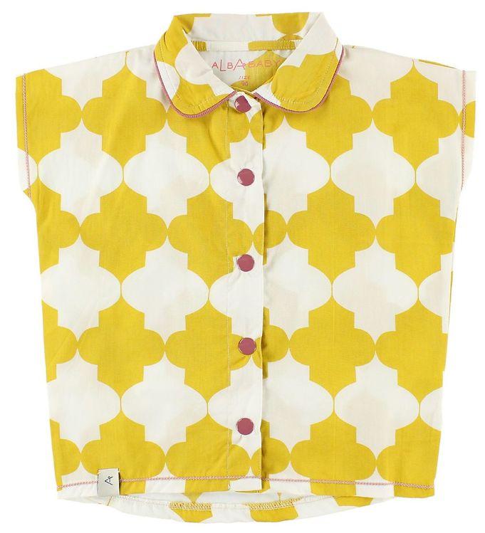 Image of AlbaBaby Oversize Skjorte - Sabella - Karrygul/Hvid (JO466)