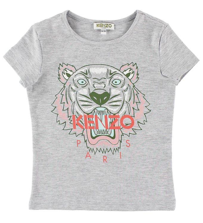 Kenzo T-shirt - Gråmeleret m. Tiger