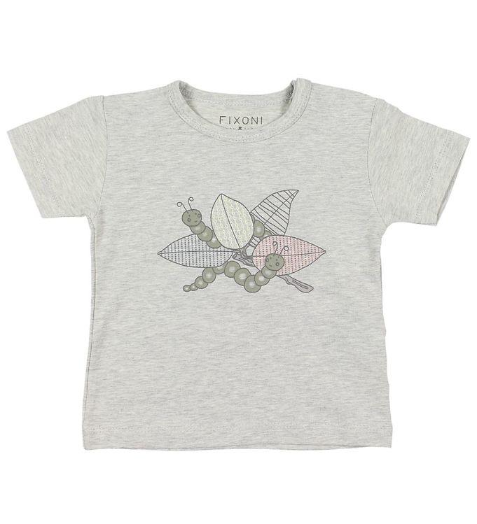 Image of Fixoni T-shirt - Gråmeleret m. Print (JP291)