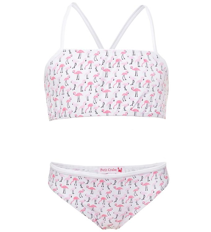 Billede af Petit Crabe Bikini - Louise - UV50 - Hvid m. Flamingo