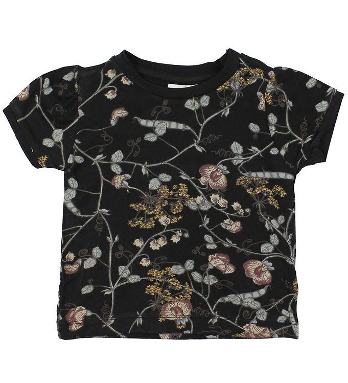 Image of En Fant T-shirt - Gate - Sort m. Blomster (JP944)