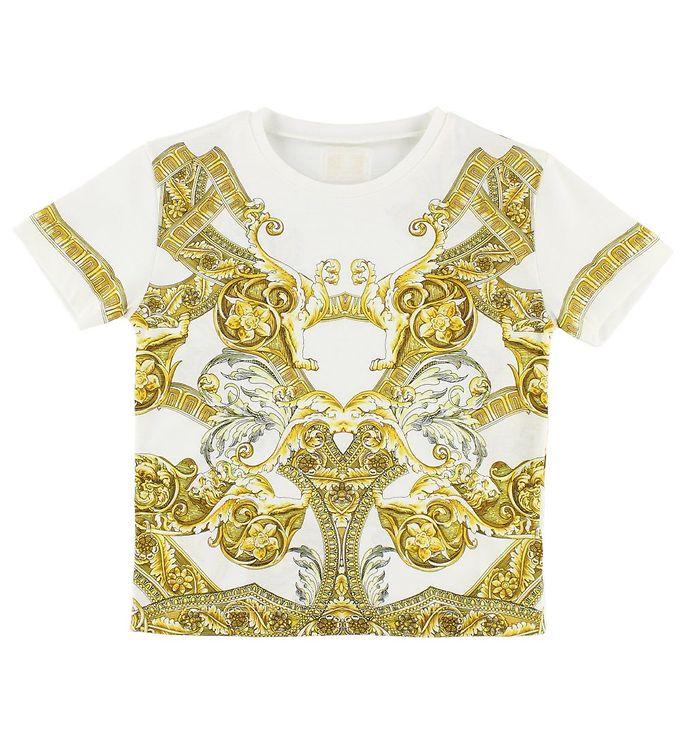 Billede af Young Versace T-shirt - Hvid m. Gult Mønster