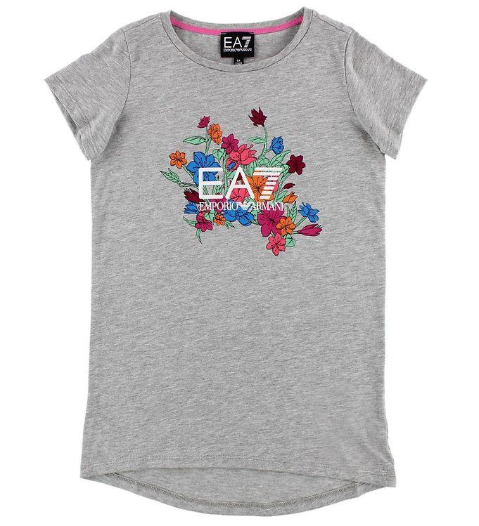 Image of EA7 T-shirt - Gråmeleret m. Blomster (JS263)