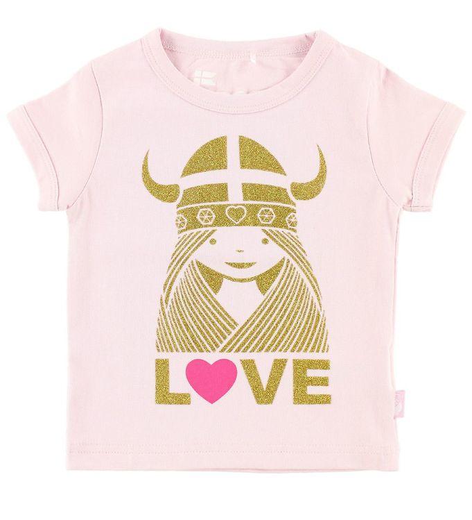 Image of Danefæ T-shirt - Alva - Lys Rosa m. Love Freja (JS311)
