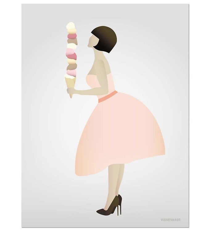 Image of Vissevasse Plakat - 30x40 - Ice Cream Lady (JT646)