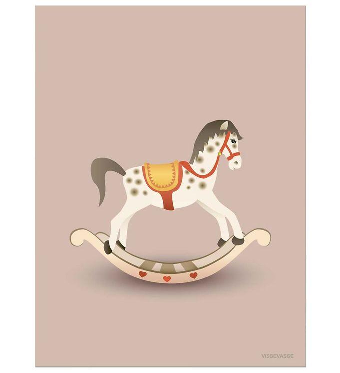 vissevasse Vissevasse plakat - 30x40 cm - rocking horse - rosa fra kids-world