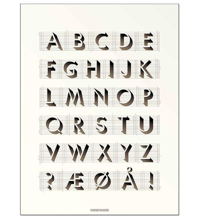 Image of Vissevasse Plakat - 30x40 - ABC - Creme (JT653)