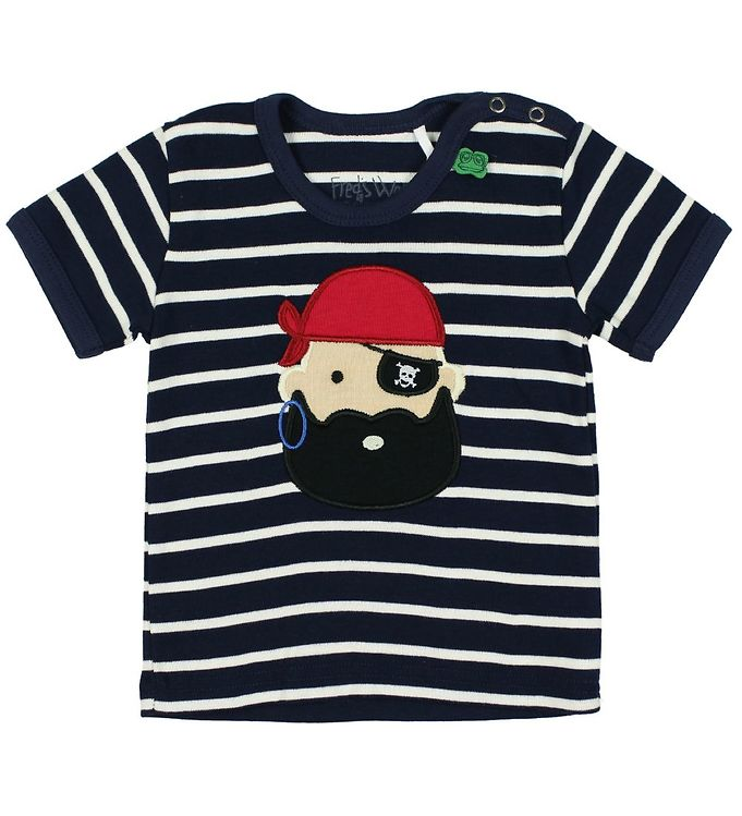 Image of Freds World T-shirt - Navystribet m. Pirat (JU273)