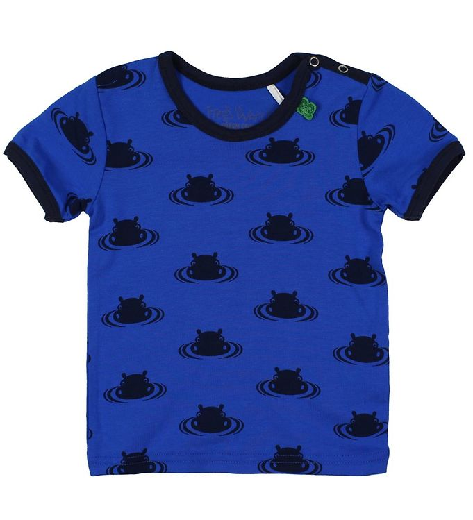 Image of Freds World T-shirt - Blå m. Flodheste (JU334)
