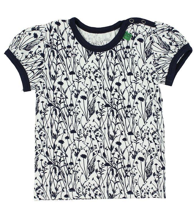 Image of Freds World T-shirt - Creme/Navy m. Blomster (JU335)