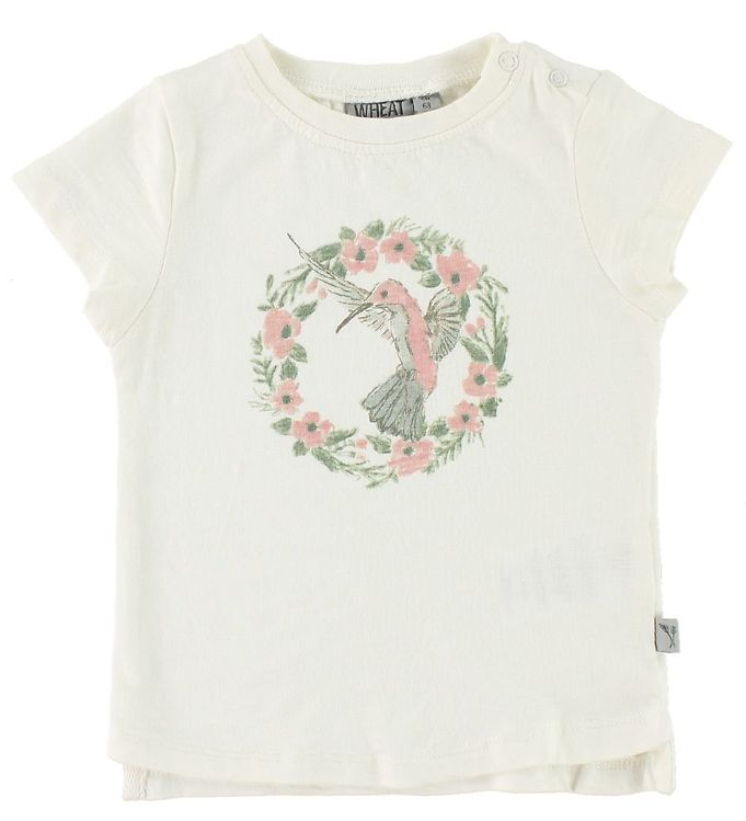 Wheat Wheat T-shirt - Flower Bird - Ivory m. Print