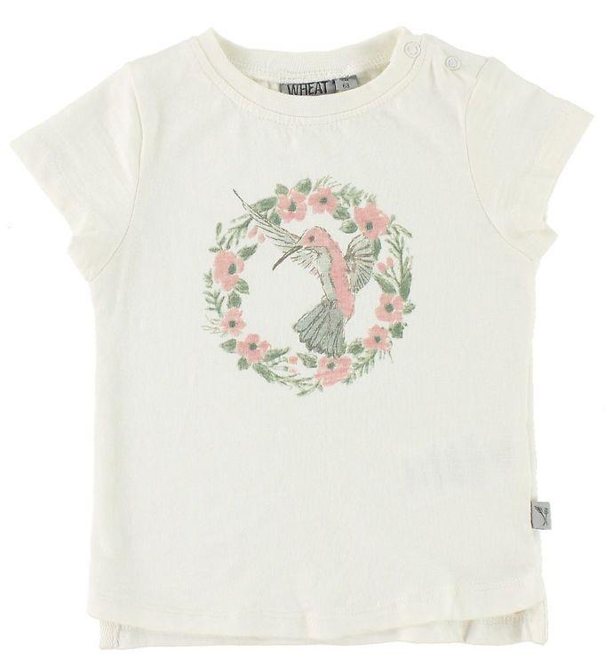 Image of Wheat T-shirt - Flower Bird - Ivory m. Print (JU757)