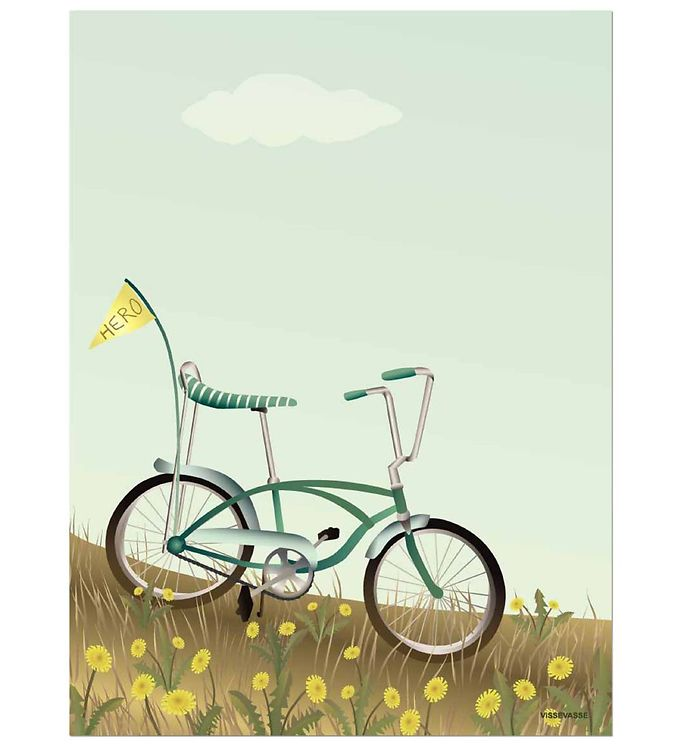 Image of Vissevasse Plakat - 30x40 - Bike With A Flag (JV485)