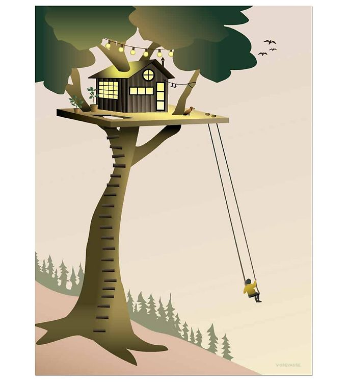 Image of Vissevasse Plakat - 30x40 cm - Tree House (JV486)