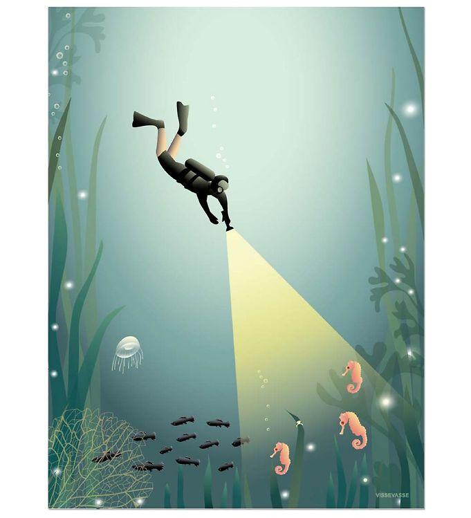 Vissevasse plakat - 30x40 cm - the diver fra vissevasse på kids-world