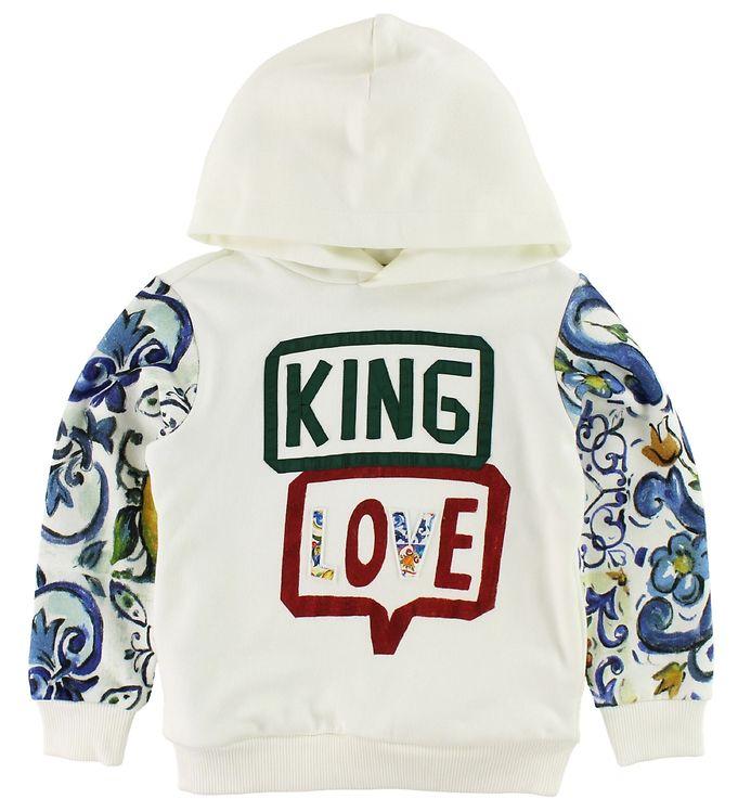 Dolce & Gabbana Hættetrøje - Hvid m. King Love