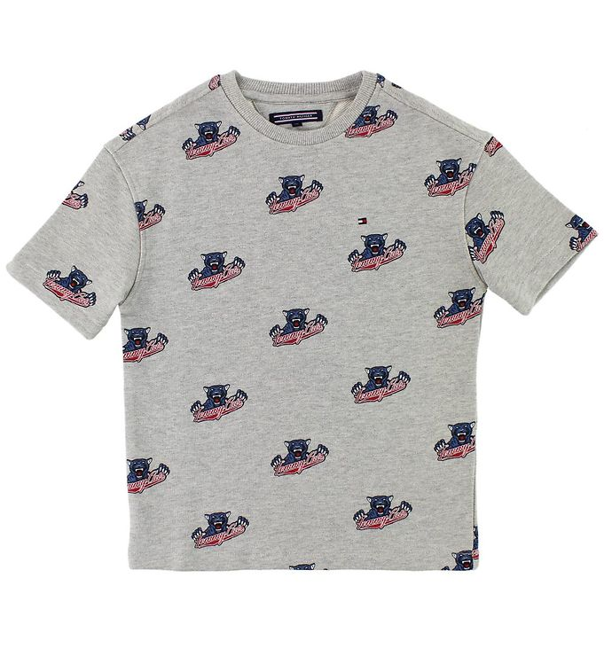 Image of Tommy Hilfiger Sweat T-shirt - Gråmeleret m. Tommy Cats (Ju281)