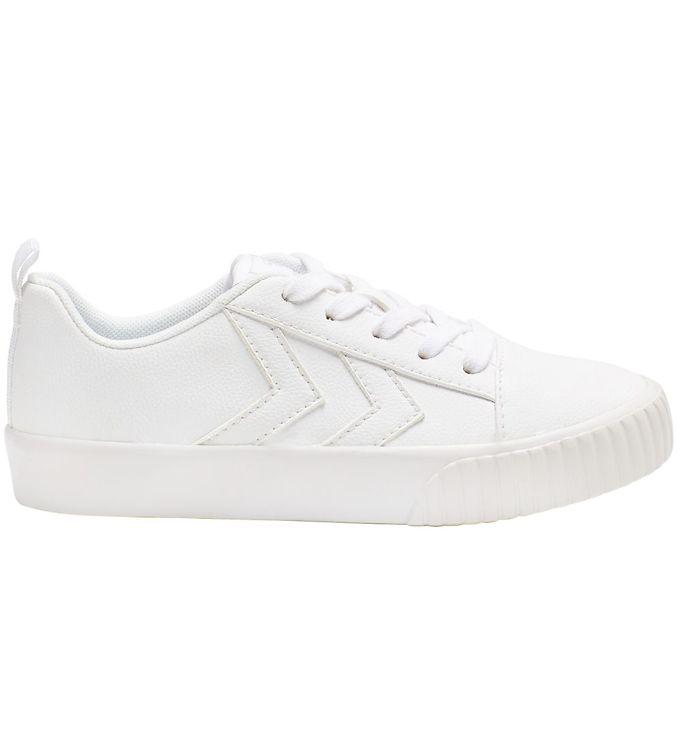 Hummel Sko - HMLBase Court Classic Jr - Hvid - ,Hummel Børnesko,Hummel Sko,Hummel Sneakers,Hummel SS20,Slip-on/Velcro - Hummel