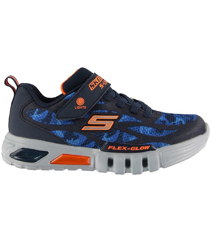 Image of Skechers Sko - Boys Flex-Glow - Navy/Orange (KI326)