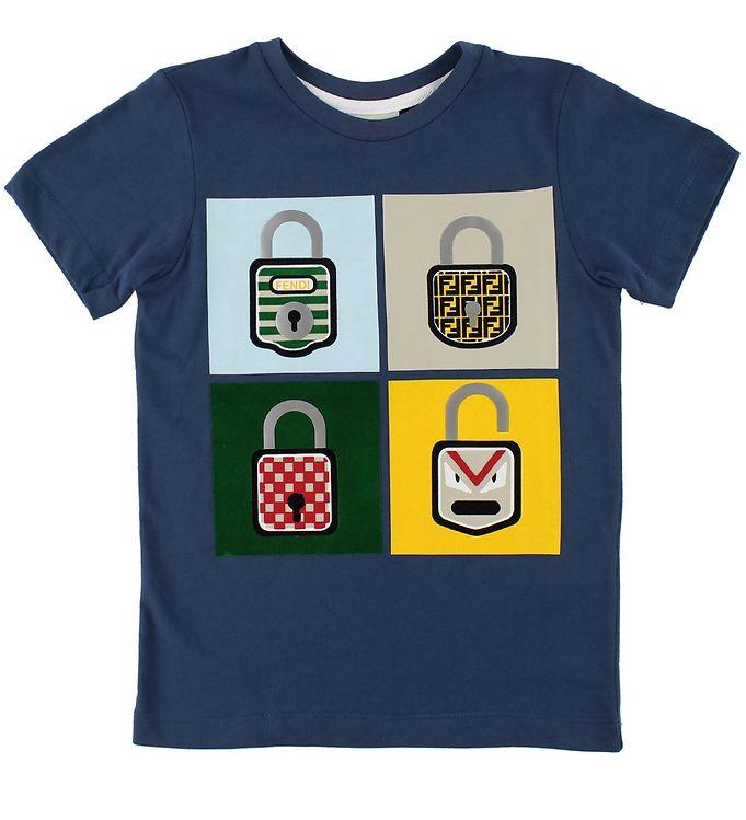 Image of   Fendi Kids T-shirt - Navy m. Hængelåse