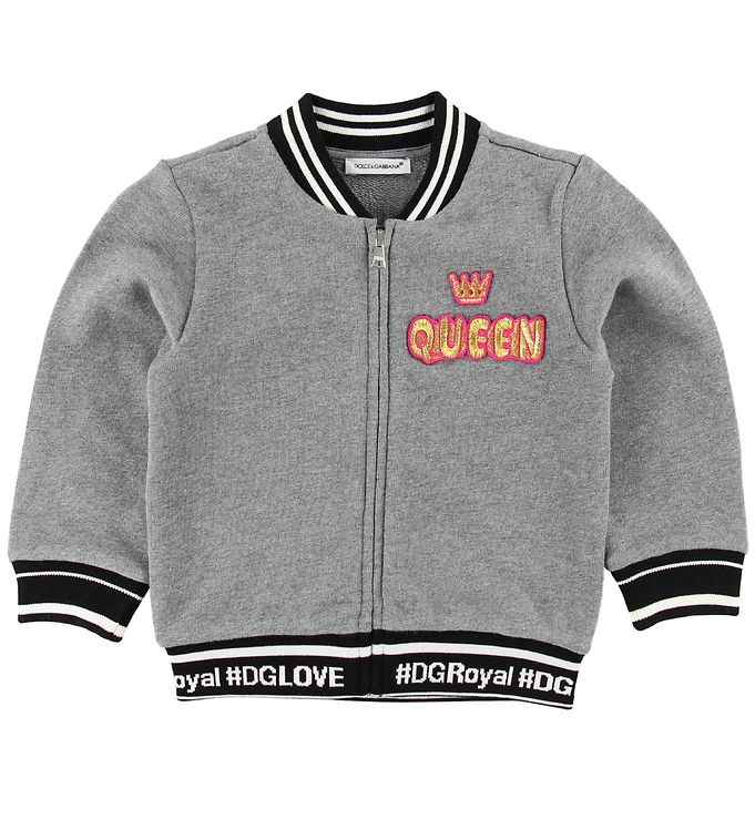 Image of Dolce & Gabbana Cardigan - Sweat - Gråmeleret m. Queen (MA050)
