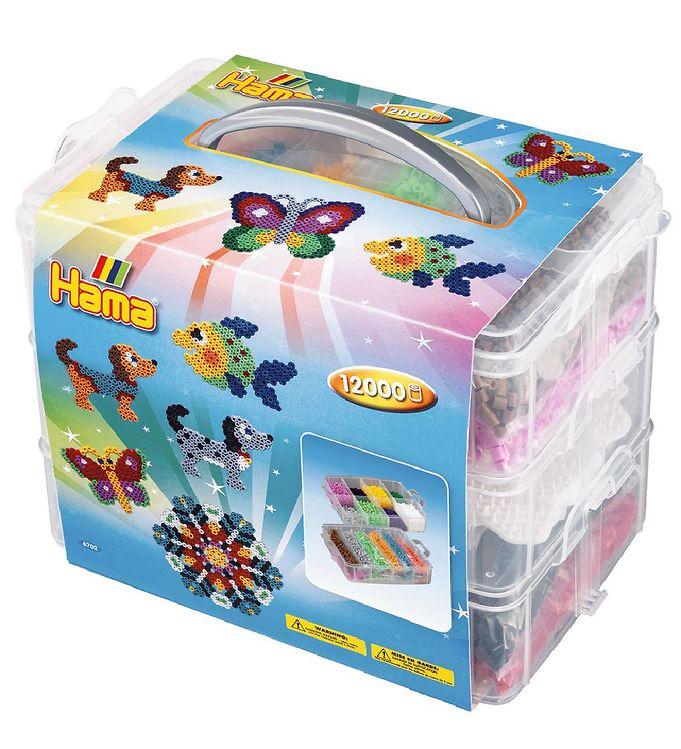 hama Hama midi perleboks - 12000 stk + 3 perleplader på kids-world