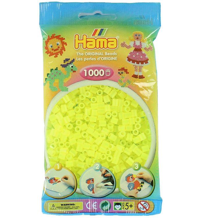 Image of   Hama Midi Perler - 1000 stk - Transparent Neon Gul