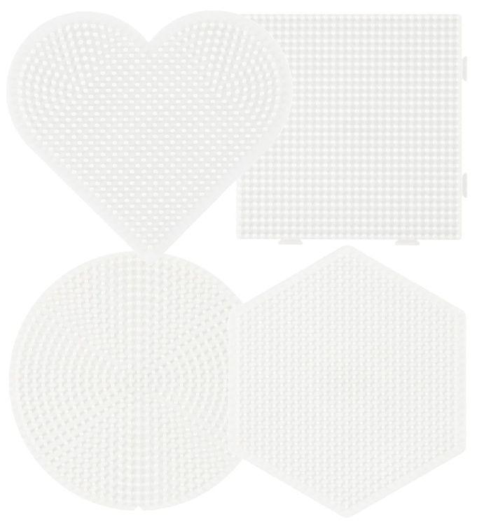 Image of   Hama Midi Perleplader - 4-pak - Firkant, Hjerte, Cirkel & Sekska